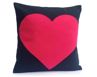 Heart Throw Pillow Cover Appliquéd in Pink on Navy Blue  Eco-Felt 18 inches