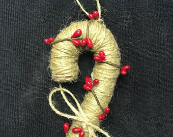 Candy Canes Set of (4) Primitive Candy Canes with twine and pip berries