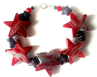 Punk Rock Star Chunky Red & Black Bracelet