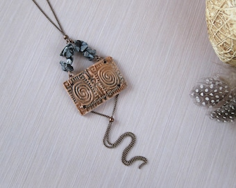 Boho gifts for mom from son Ceramic jewelry Ceramic necklace Boho long necklace Ancient Greek jewelry history lover gift Mythology necklace