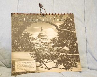 Unique 1943 Calendar of America Ewing Galloway Photography Calendar Black and White Calendar WW11 era. Non Religious Non Political Calendar