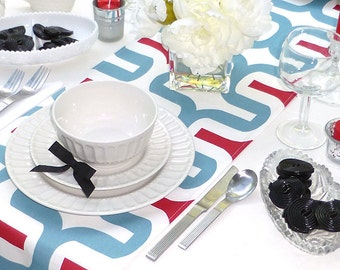 Red Blue and White Table Runner - Premier Prints Embrace Red - All Sizes - Table Linens- Home Decor- Dinner Party, Holiday, Wedding- Linens