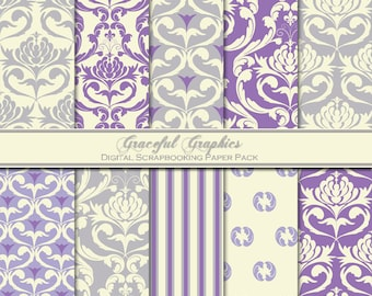 Scrapbook Paper Pack Digital Scrapbooking Background Papers DAMASK 10 8.5 x 11 Soft Purple Gray White Damask and Stripes Spots Design 1476gg