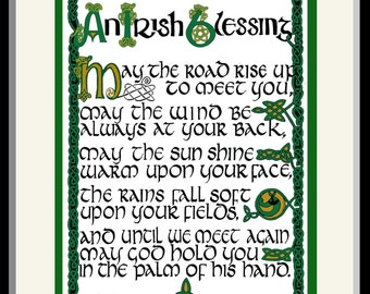"Irish Blessing - Celtic hand lettering and design, FREE US shipping! Custom matted and framed print 12"" x 15"" with braided Celtic border"