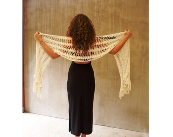 Rustic wedding ivory long crochet lace scarf white bridal fashion wrap shawl Lagenlook