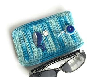 Blue Sunglasses Case, Eyeglass Case, Soft Glasses Case, Crochet Eye Glass Case, Sunglass Holder