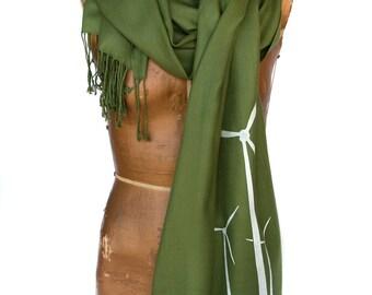Wind Turbine Scarf. Moss green pashmina scarf, white screenprint. Unisex. Green power, wind power, ecology, environmental activist gift.