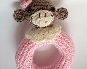 Baby Rattle. Newborn gifts amigurumi. Pink Mona, 100% handmade.