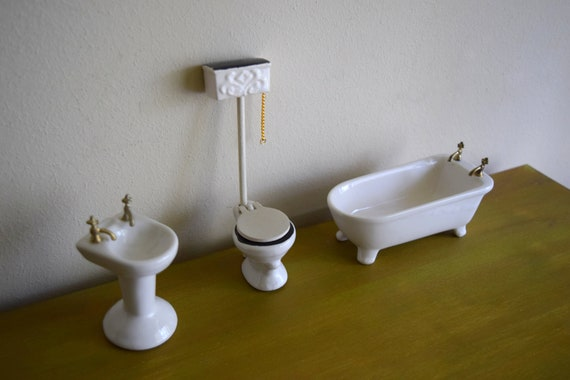 Vintage Shackman Dollhouse Bathroom Set - Miniatures, Miniature Furniture, Tiny Things