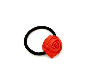 Red Flower Ponytail/ Red Ponytail Holder/ Satin Hair Tie/ Satin Flower Ponytail Holder/ Red Elastics/ Girl Ponytail Holder