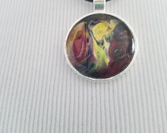 Acrylic Paint Round Necklace Handmade Silver