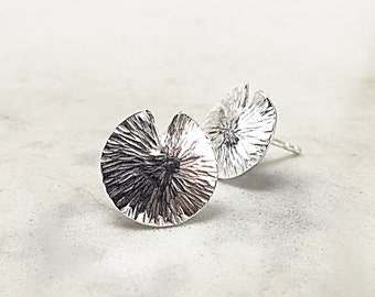 Lily Pad earrings, Sterling Silver studs, hammered, Water Lily, Nature inspired jewelry
