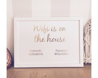 WiFi is on the house - guest bedroom decor
