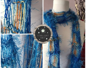 Hand Knit Hand Crafted Dramatic Ladies Blue Boa Lightweight Scarf