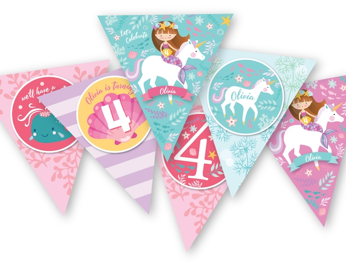 Mermaid Unicorn Bunting, Garland, Banner, Customized Printable DIY, Girl's Birthday Party, Unicorn and Mermaid under the sea party