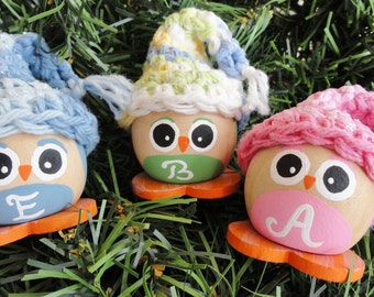 Personalized Owl Christmas Tree Ornament - Pink Blue Green Baby Handpainted Holiday Decoration - Hand-crocheted Hat By Distinctly Daisy