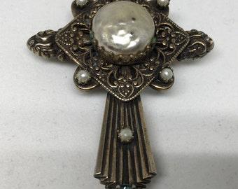Reversible Antique German Brass Cross Necklace