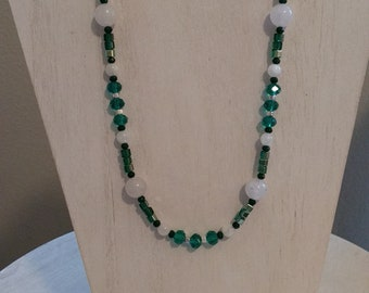White Jade & Green Crystal Necklace