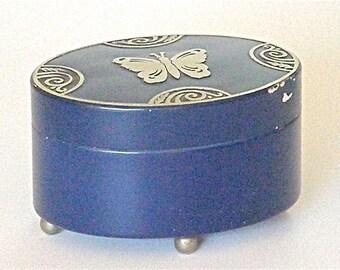 Lucretia Vanderbilt Boudoir Cobalt Blue Powder Tin c1920s