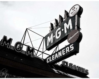 Vintage Neon Sign Photograph — Almost Black & White MGM Cleaner Sign Wall Art — Dry Cleaner Vintage Advertising Photo — Neon Lightning Bolts