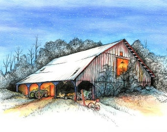 """Barn, Dance, Glow, Link, Victoria, Pen & Ink and Watercolor, """"Victoria, Shall We Dance?"""" (Reproduction)"""