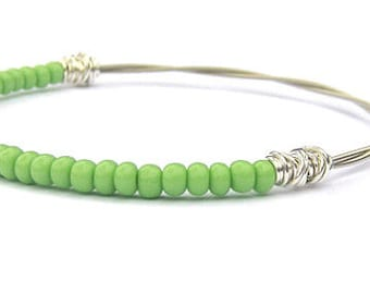 Beaded Bracelet // Green Seed Bead Bracelet // Friendship Bracelet // Silver Bangle Bracelet // Guitar String Jewelry // Bridesmaid Gift