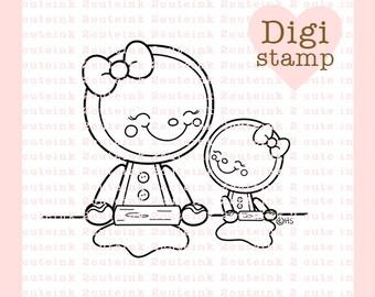 Horneados con amor sello Digital - pan de jengibre Stamp - sello de la hornada Digital - arte de pan de jengibre - pan de jengibre tarjeta suministro - suministro de arte de la hornada