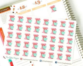 PRINTED Stand Mixer stickers. Baking reminder. For Erin Condren Planner. Stickers, calendar stickers (Item #051)