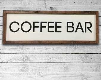 Rustic Coffee Bar Sign, Farmhouse Style Wooden Sign, Engraved Coffee Sign