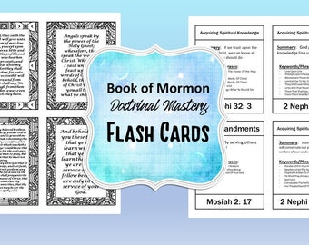 Doctrinal Mastery, Book of Mormon Flash Cards, LDS Seminary, 25 Scripture Flash Cards plus BONUS cards for coloring