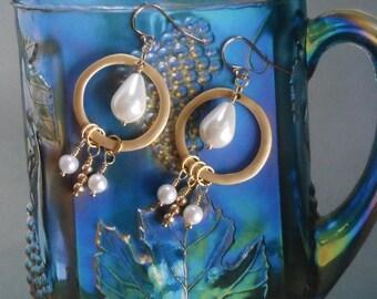 Freshwater Pearls and Gold Sphere Dangle/Drop Earrings-women's earrings-bridal-white pearls