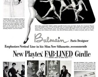 1950 Pierre Balmain Playtex Girdle Vintage Mid Century Hollywood Haute Couture Paris Fashion Designer Vogue Dior Black White Wall Art Decor