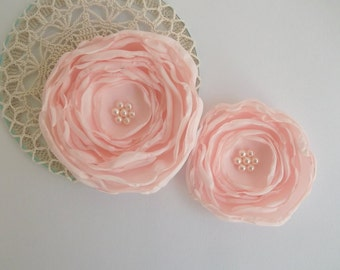Coral Pink Blush fabric Flowers in handmade, Bridal veil Fascinator, Bridesmaids hair shoe clip, Flower Girls Birthday Christmas gift, Set 2