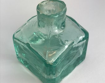Lovely old Victorian ink aqua glass ink bottle
