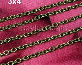 Antique Brass 3x4 Oval Rolo Cable Cross Link Chain - 12ft