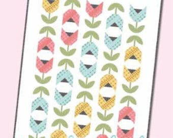 """SALE!! Dutch Tulips Quilt Pattern by Kimberly jolly of It's Sew Emma for Moda- ISE 170G Finished Size 48.5"""" x 64.5"""""""
