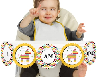Let's Fiesta - Mexican Fiesta - 1st Birthday - I Am One - First Birthday High Chair Banner - Mexican First Birthday Party Decorations