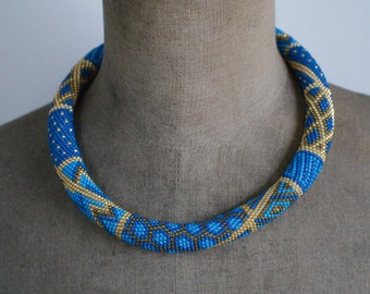Turquoise and Gold Necklace, Luxurious Necklace, Patchwork Necklace, Beadwork Necklace, Evening Jewelry, Elegant Necklace