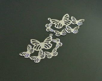 Four thin charms cluster of butterflies, 45 x 28 mm, hole 1.4 mm shiny silver tone alloy
