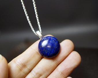 Sterling Silver Round Lapis Lazuli Necklace -  Vampire Diaries Necklace, Large Lapis Lazuli Necklace  Chakra Healing - Lapis Lazuli Jewelry