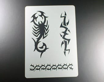 Stencil Scorpion Thorns tribal tattoo-BT04