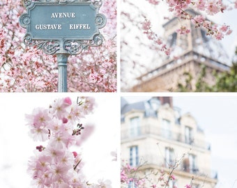 Paris Fine Art Photography Collection – Paris in Blossom Print Set, Eiffel Tower, Cherry Blossoms, Gallery Wall, Paris Art, Large Wall Art