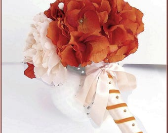 orange bouquet wedding - shades of orange, salmon - fabric flowers, hydrangeas - Bridal Bouquet - wedding-Wedding