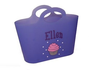 Personalized Bubble Tote / Gift Basket  / Beach Bag - Cupcake
