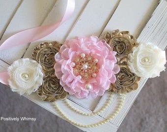 Pink Gold Ivory Maternity Sash, Girl Maternity Sash, Pink Maternity Sash, Maternity Belt, Pregnancy Sash, Flower Sash, RTS, Pink Gold Ivory