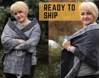 Grey felted double-sided scarf, merino wool wrap shawl, mother handmade gift, winter women scarf,  felt accessory, large Nuno felt shawl art