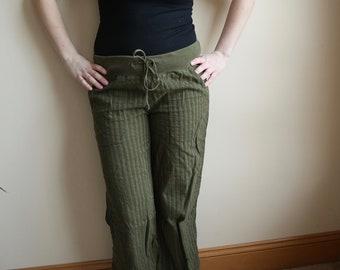 Vintage Olive Green Beach Pants