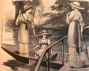 Le Petit Echo de la Mode July 14, 1912 Vintage Fashion Magazine France 1910's Boating