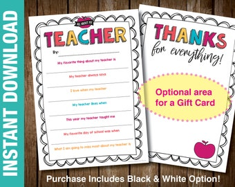 PRINTABLE Teacher Thank You Card, End of Year Teacher Gift Card Holder Teacher Appreciation Gift Fill in the Blank Teacher Card