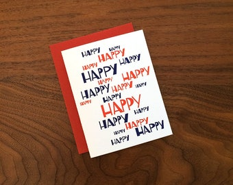 Happy Happy Birthday - Letterpress Card